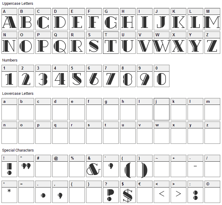 Rialto Font Character Map