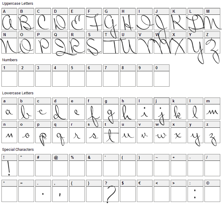 Ribbon in the Sky Font Character Map