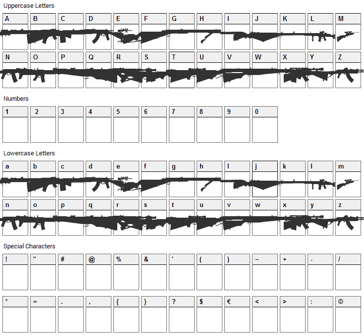 Rifle Bats Font Character Map