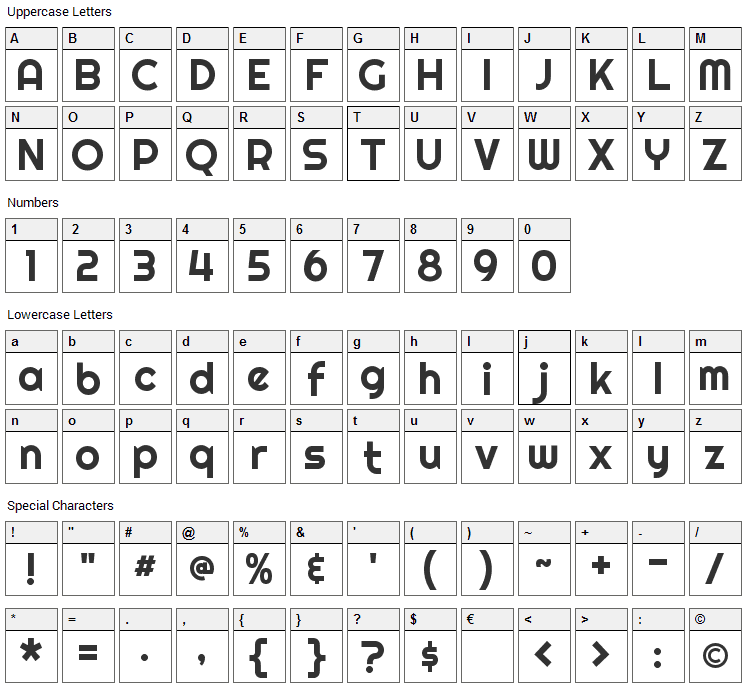 Righteous Font Character Map