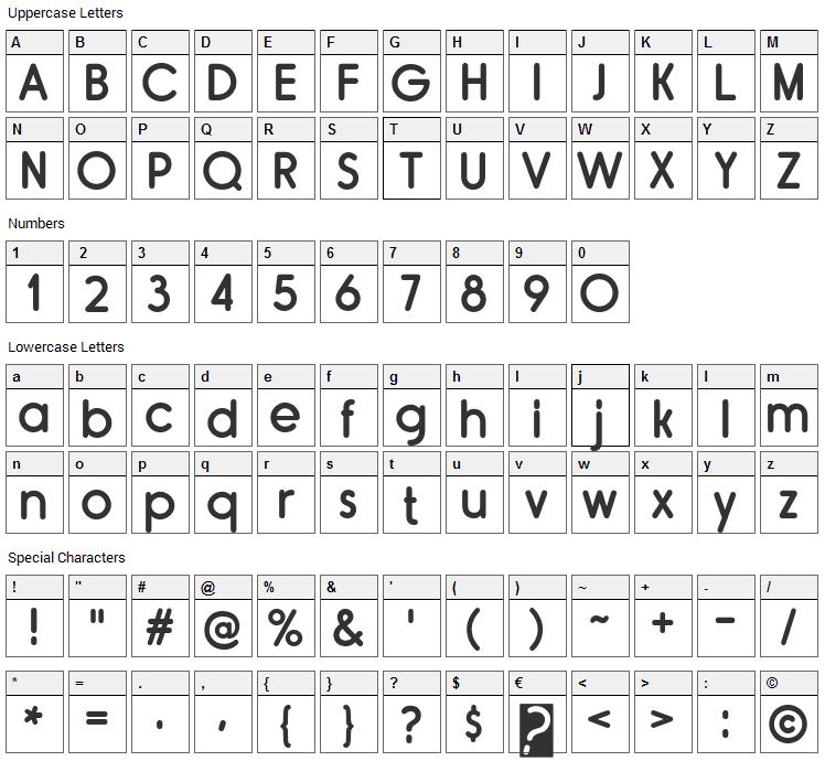 Rimouski Font Character Map