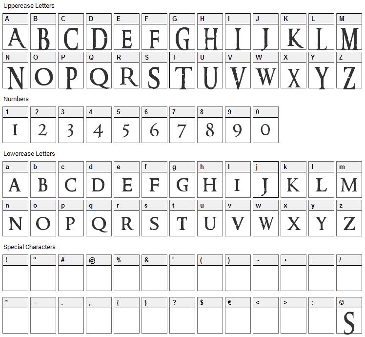 Ringbearer Font Character Map