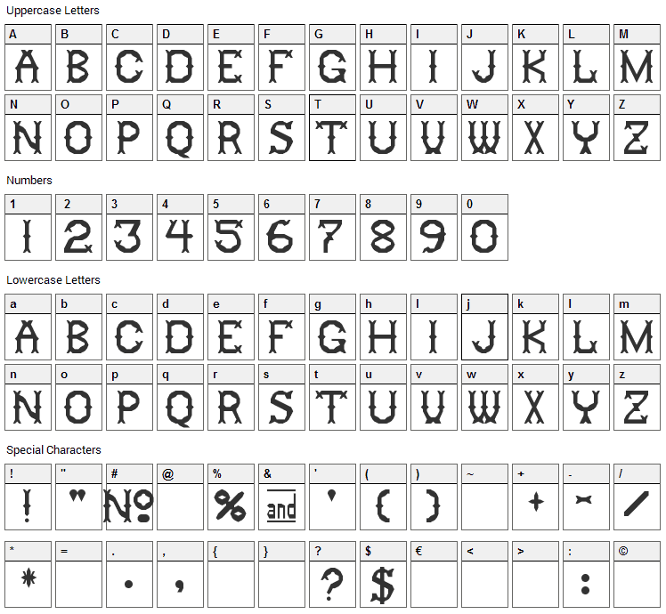 Ringling Font Character Map