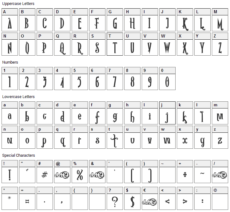 Rio Frescata Font Character Map
