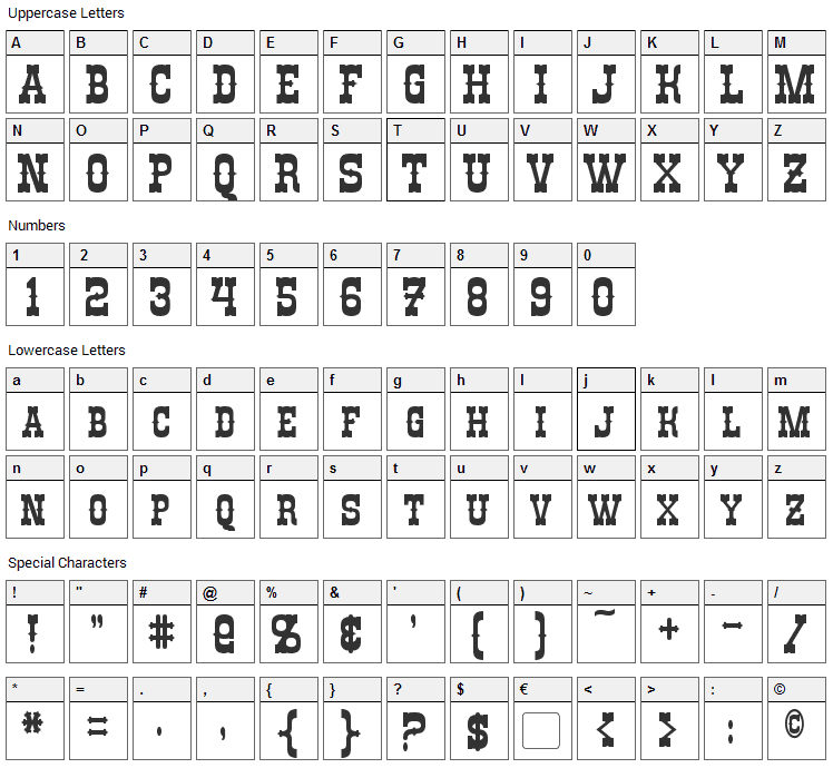 Rio Oro Font Character Map