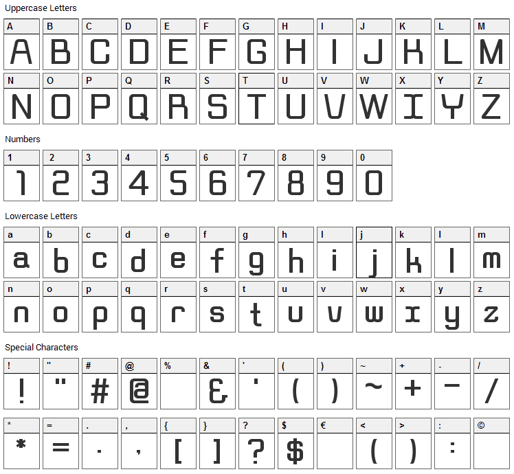 Rippen Font Character Map