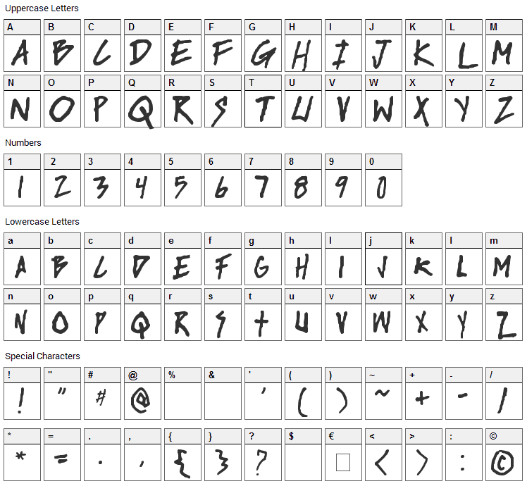 Rise Up Font Character Map