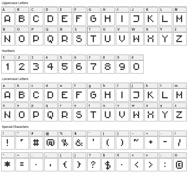 Rittswood Impresive Font Character Map