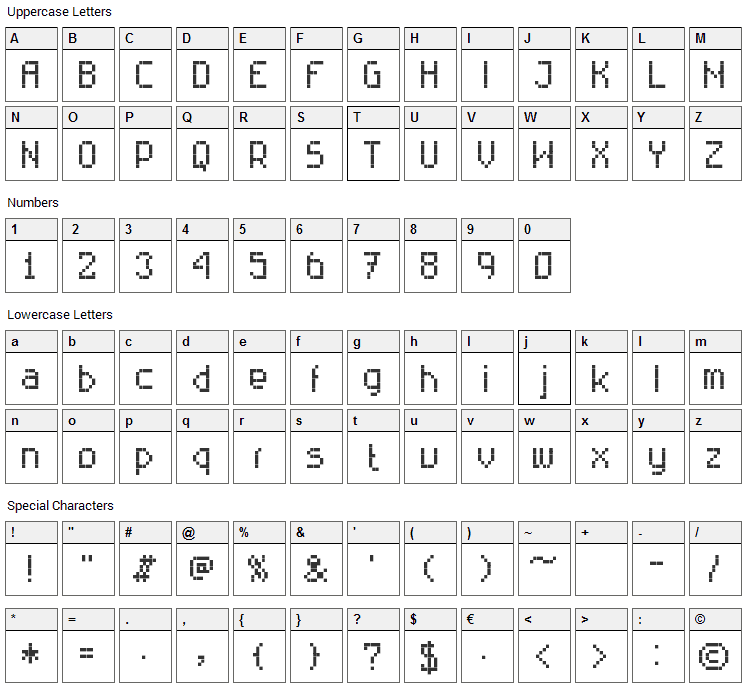 Rittswood Technical Font Character Map