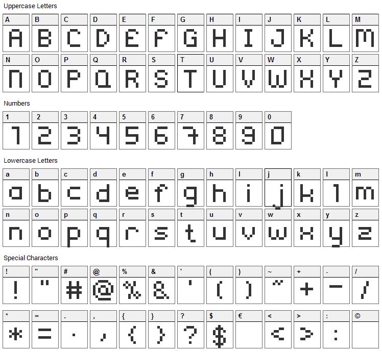 Rix Font Character Map