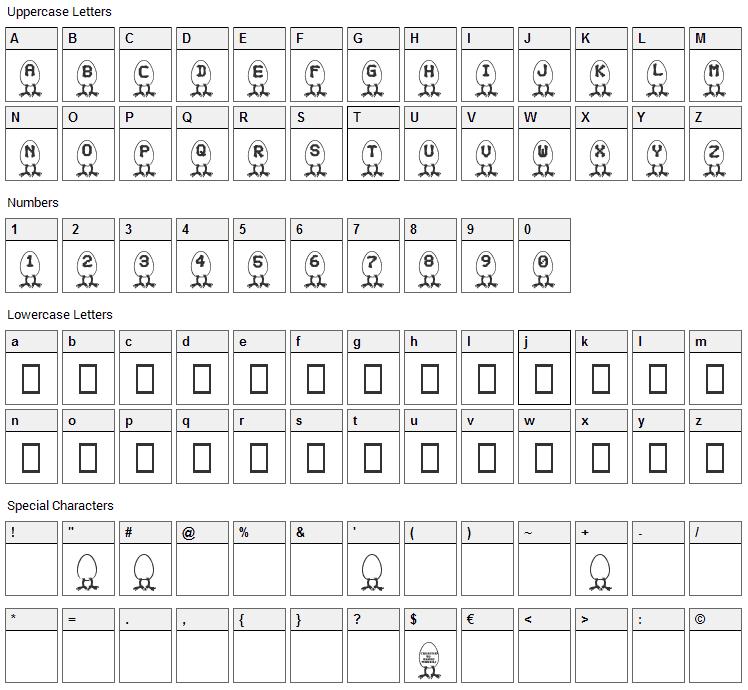 RM Egg Font Character Map