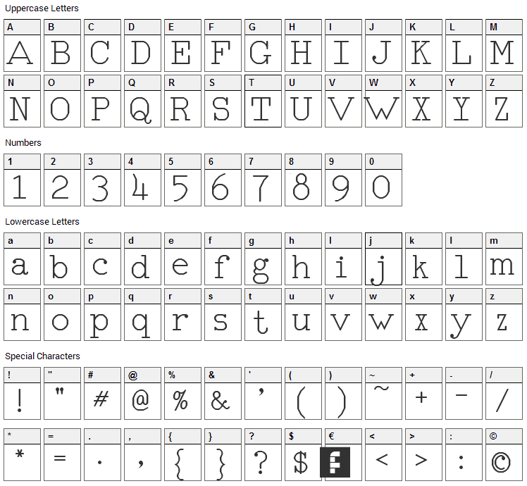 RM Typerighter Font Character Map