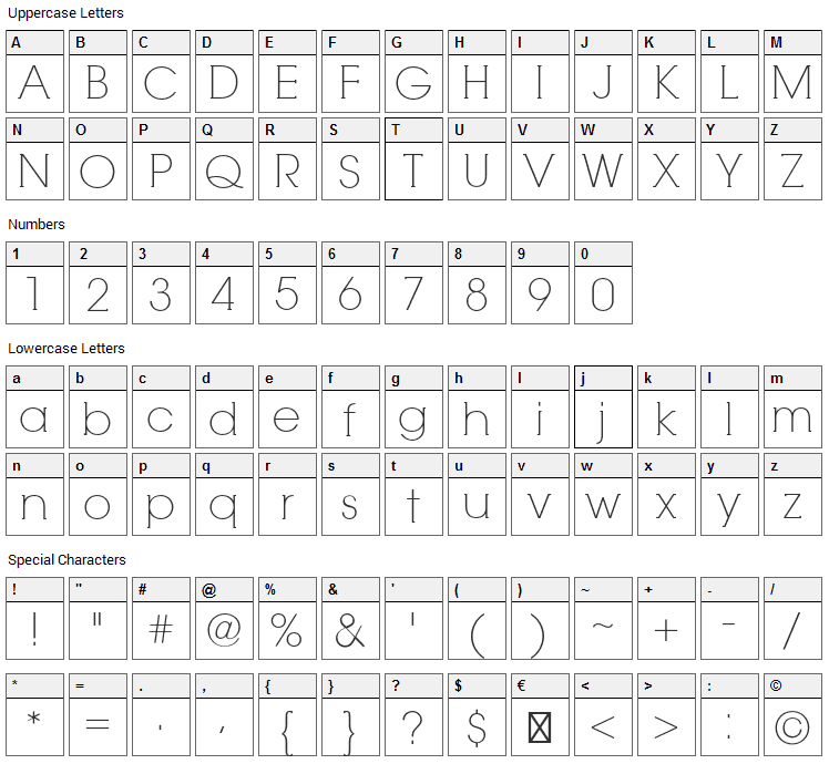 RNS Camelia Font Character Map