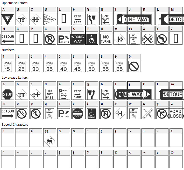 Road Signs Font Character Map