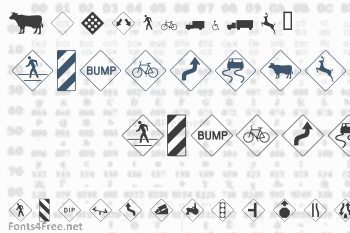 Road Warning Signs Font