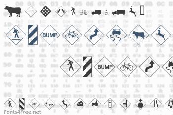 Road Warning Signs Font