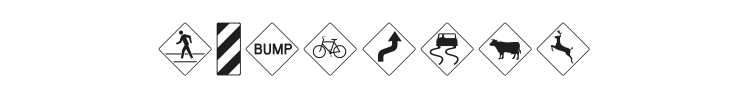Road Warning Signs Font Preview