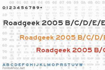 Roadgeek 2005 B/C/D/E/EM/F Font