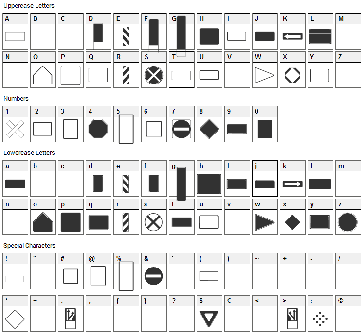 Roadgeek 2005 SignBacks Font Character Map