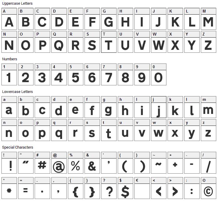 Roadgeek 2005 Transport Font Character Map