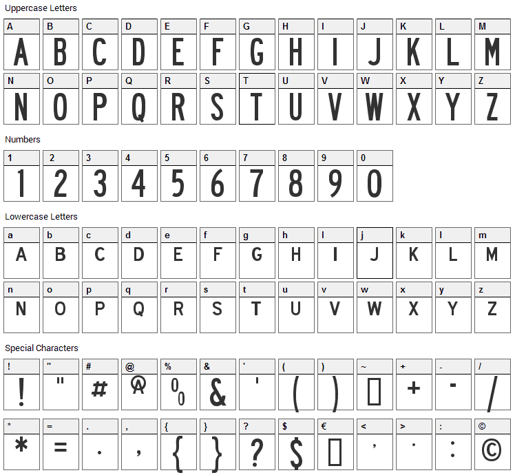 Roadway Font Character Map