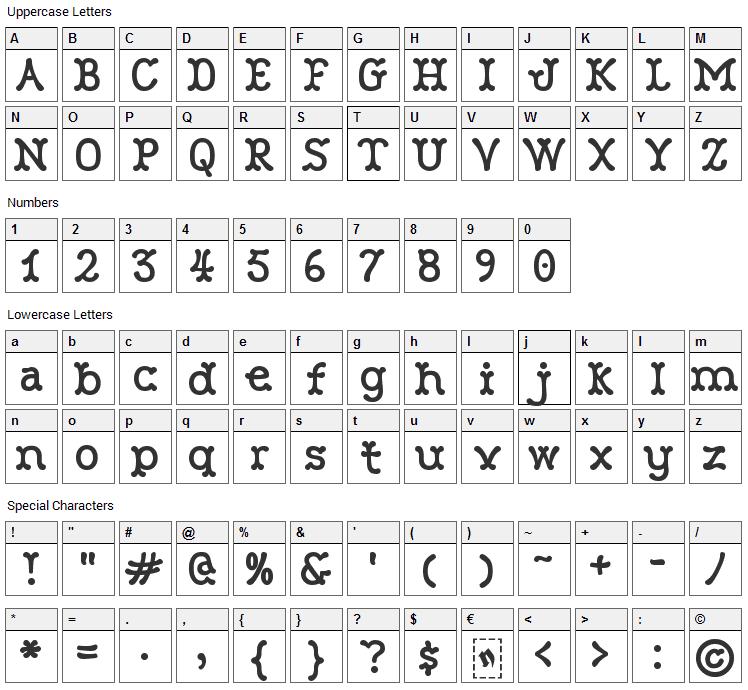 Robinne Font Character Map