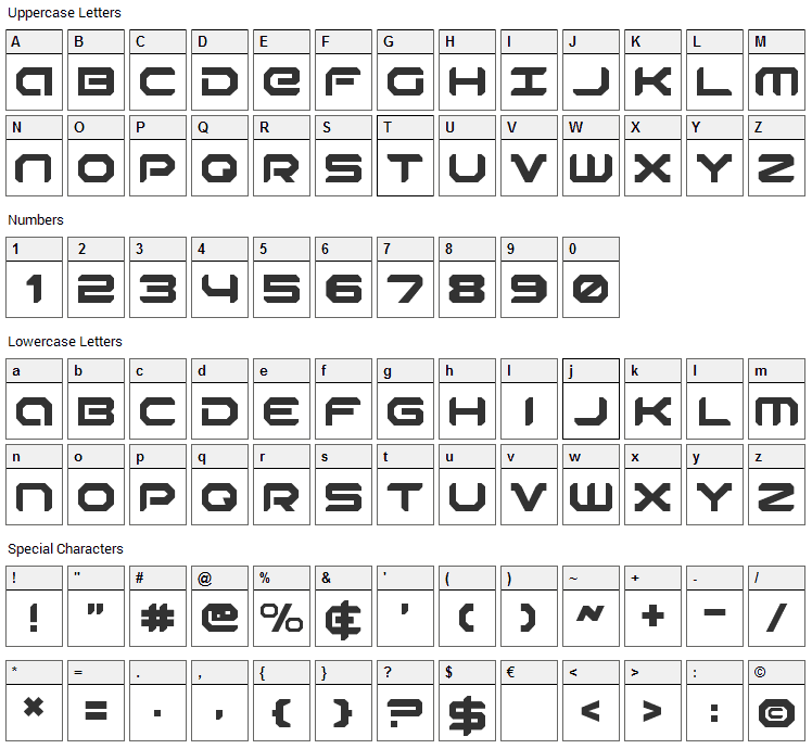 Robotaur Font Character Map