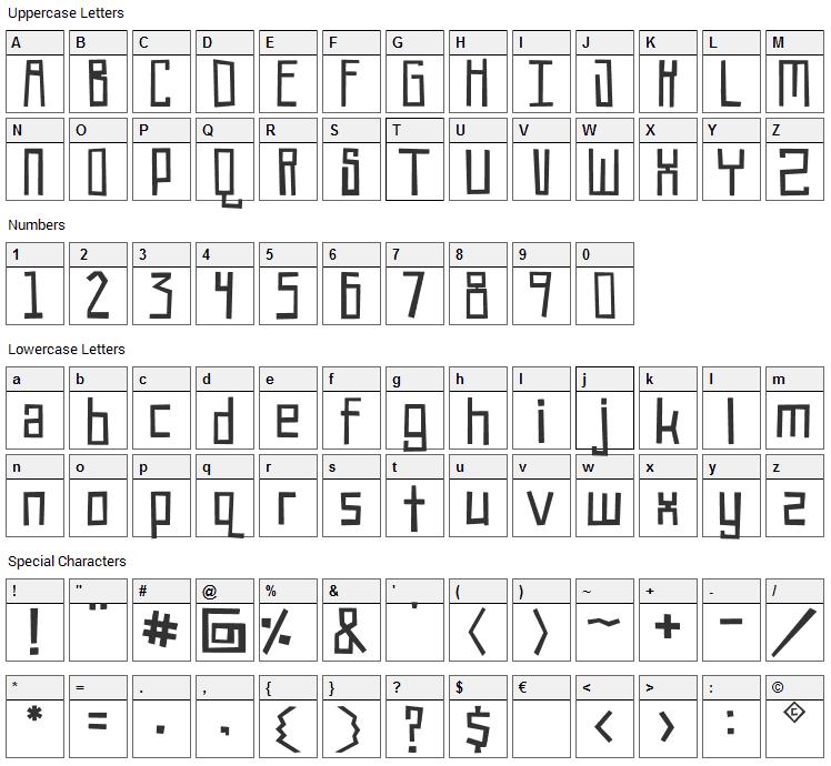 Robot!Head Font Character Map