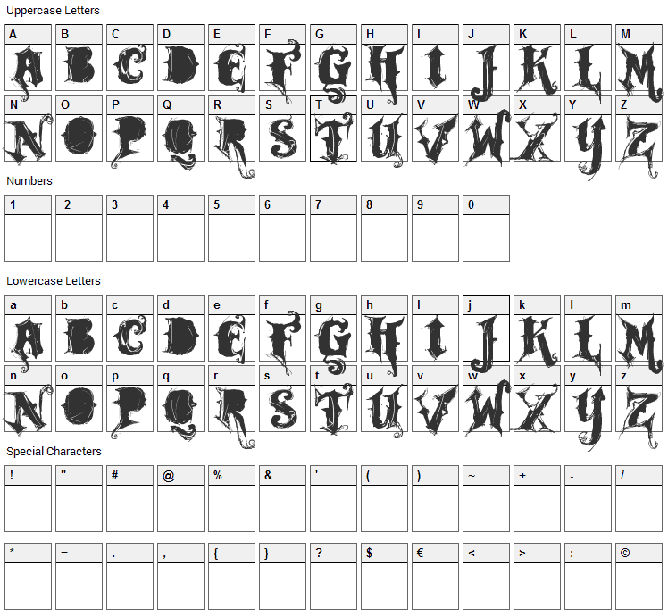 Rock Garage Band Font Character Map