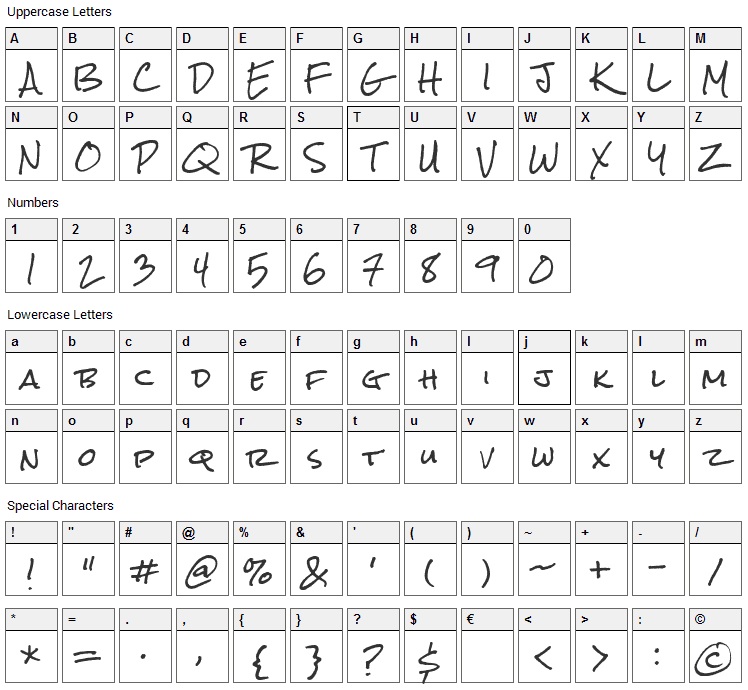 Rock Salt Font Character Map