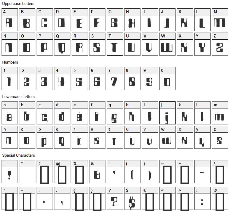 Rocket 70 Font Character Map
