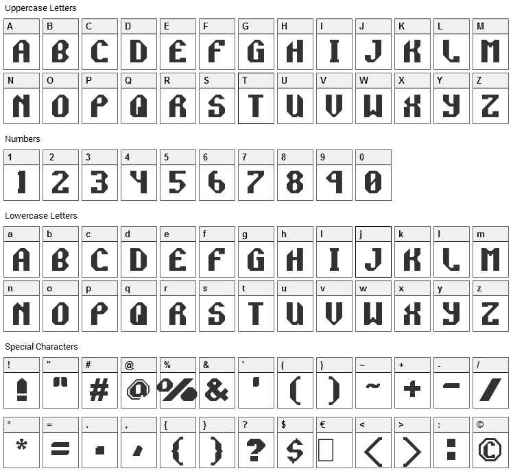 Rocket Propelled Font Character Map