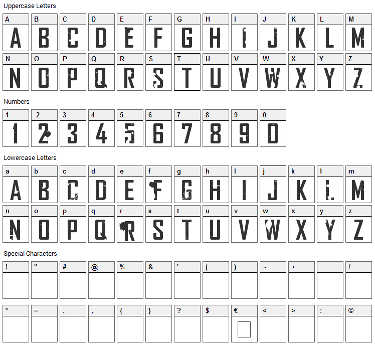 Rocketship Town Font Character Map
