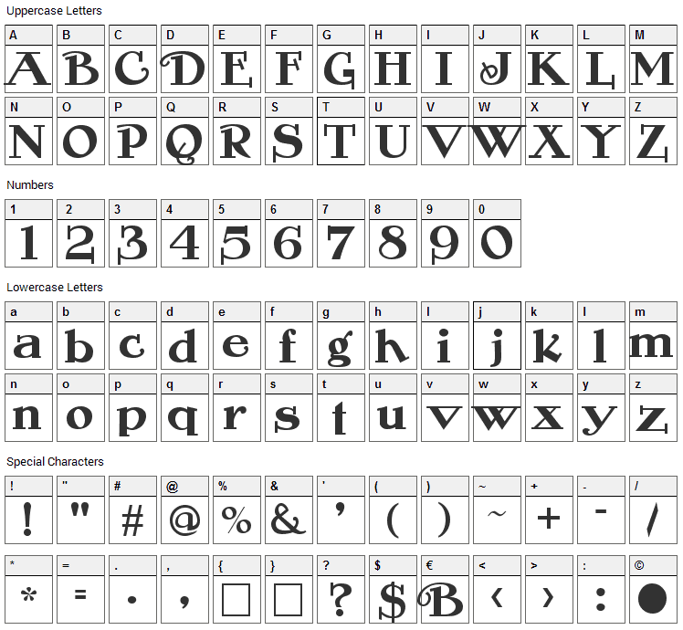 Rogers Font Character Map