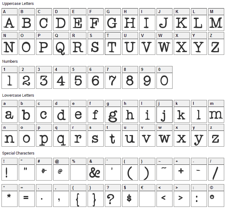 Rogers Typewriter Font Character Map