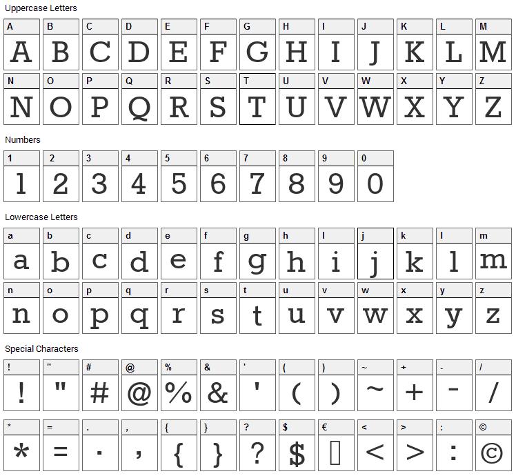 Rokkitt Font Character Map