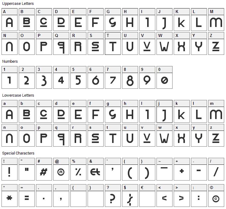 Rolinga Renner Font Character Map