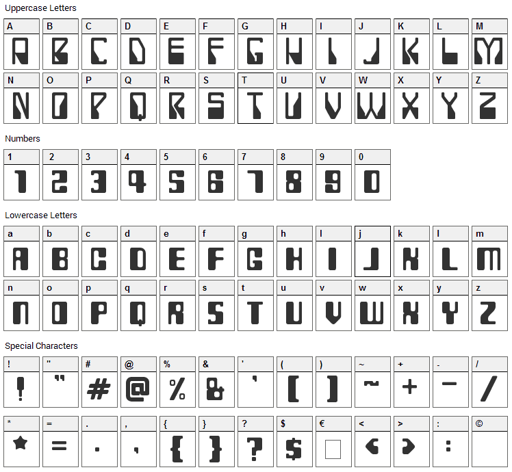 Rollerball 1975 Font Character Map
