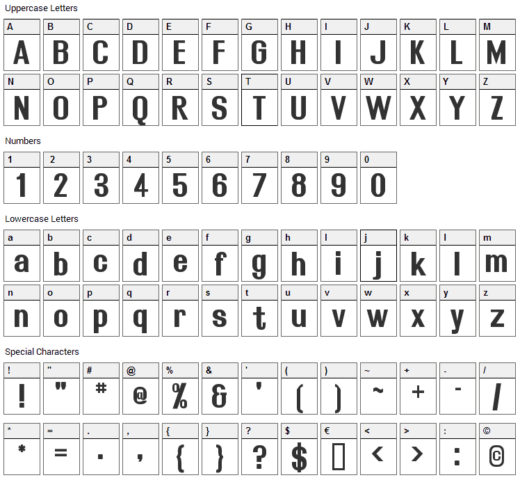 Rollout Font Character Map