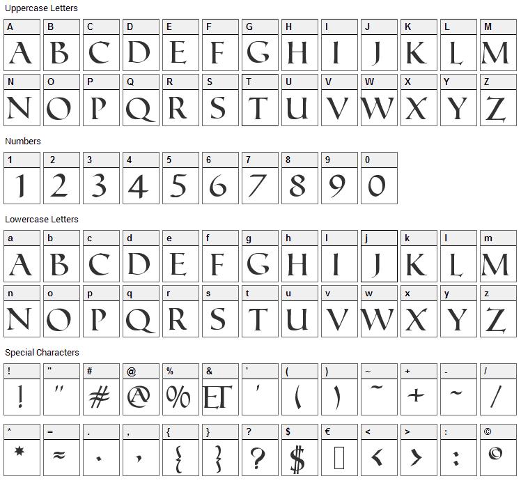 Roman Font Character Map