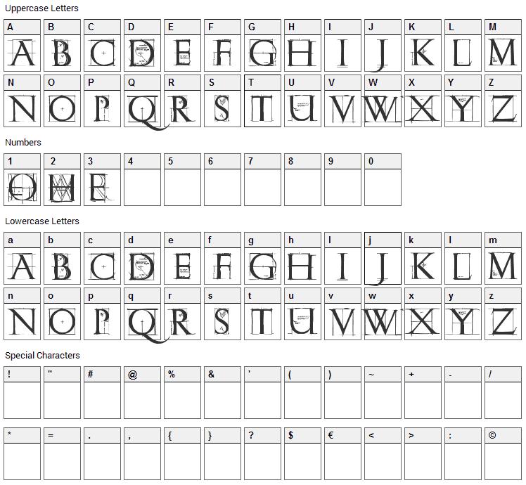 Roman Grid Caps Font Character Map