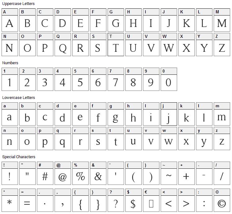Roman Serif Font Character Map