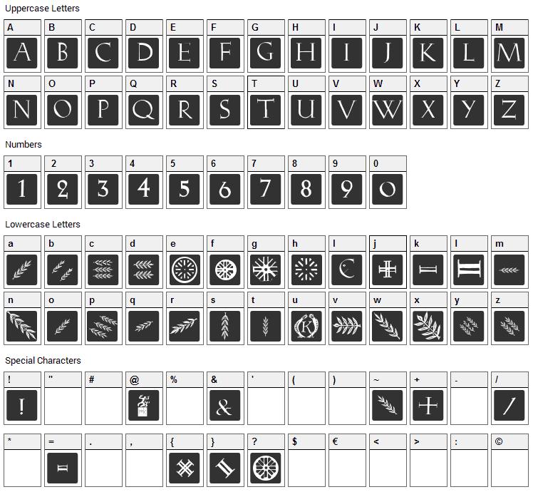 Romana Caps Classic Squares Font Character Map