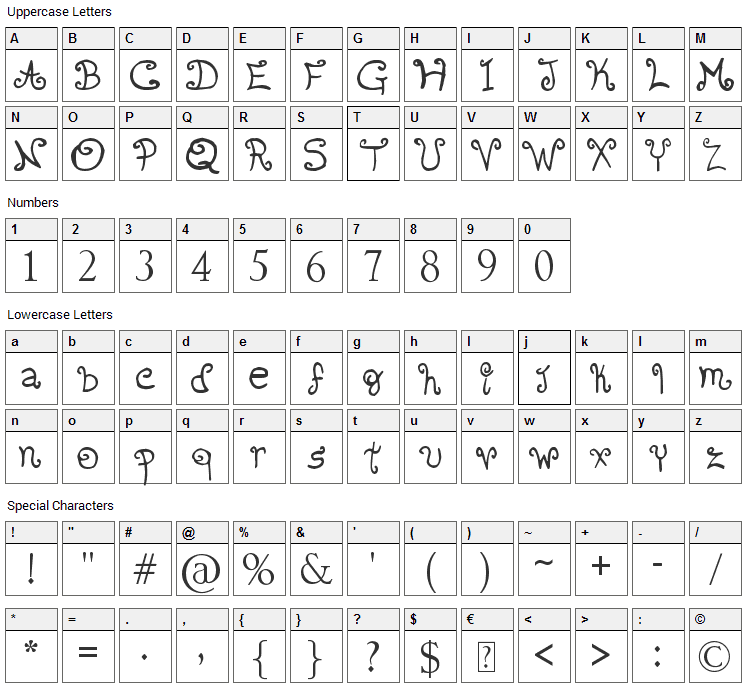 Romantic Font 2 Font Character Map