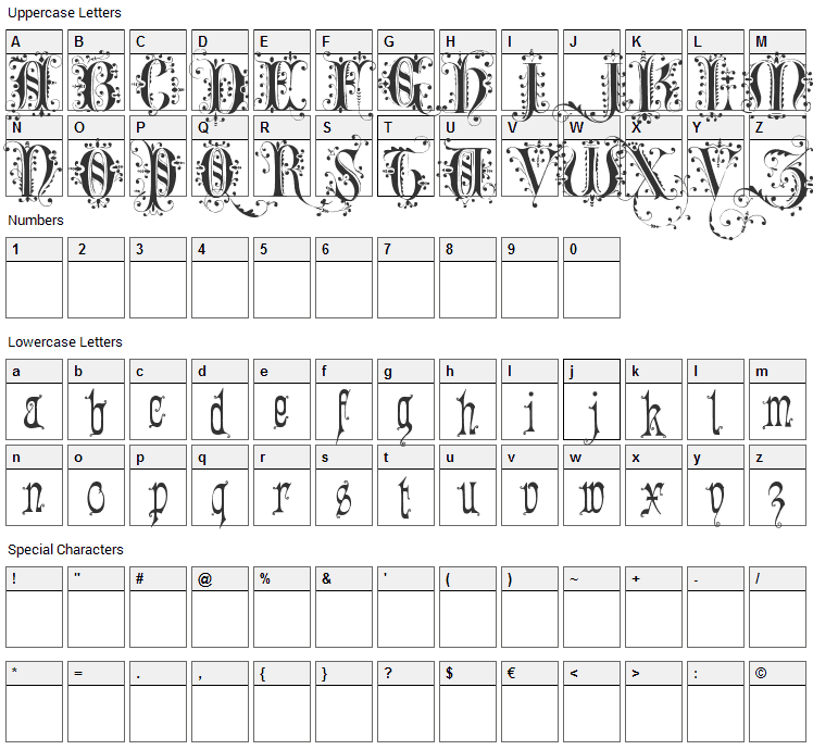 Romantically Yours Font Character Map