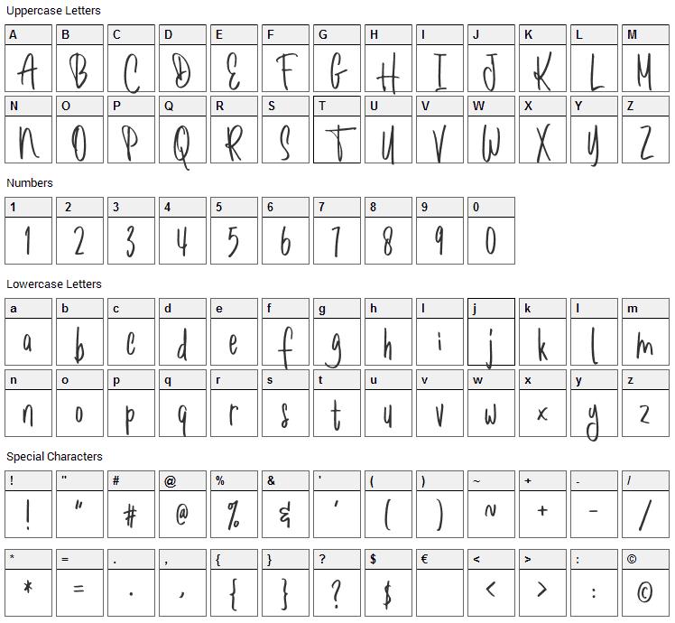 Romantick Font Character Map