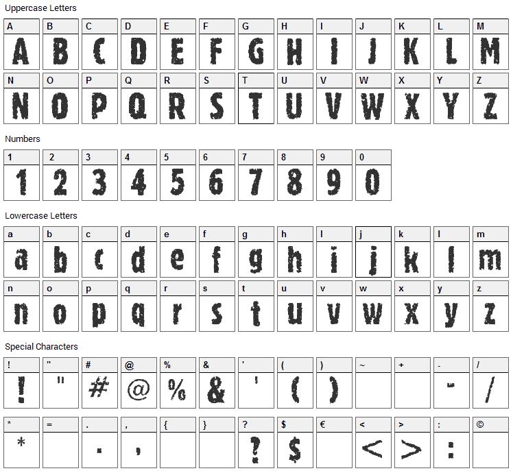 Romeo Font Character Map