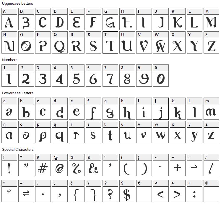 Romerati Font Character Map