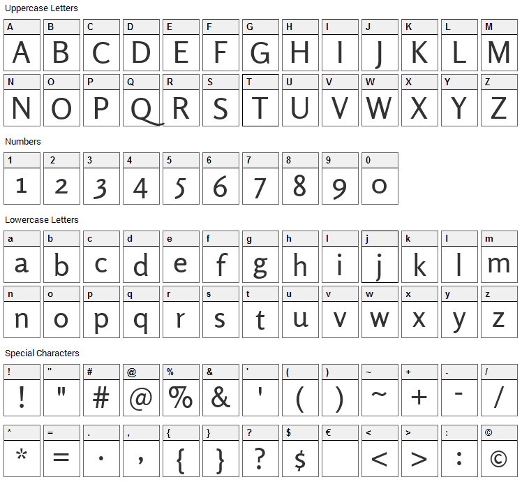 Rosario Font Character Map