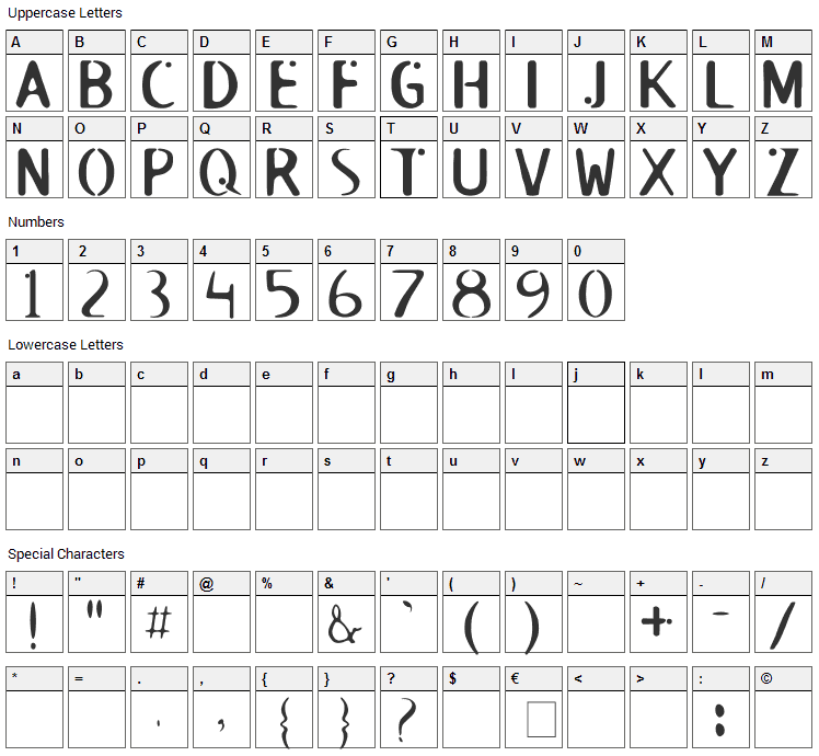 Roswell Font Character Map